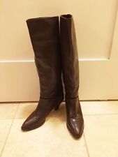 Vintage Italy Leather Knee Tall Heel Boot Hana Mackler Brown Pull On Women 5.5