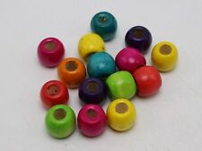 100 Mixed Color Barrel Wood Beads 12mm with Big Hole~Wooden