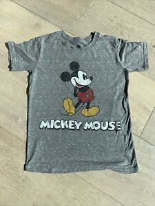"""Unisex Kids Disney Parks Gray Classic """"Vintage Look"""" Mickey Mouse t-Shirt M 7 8"""