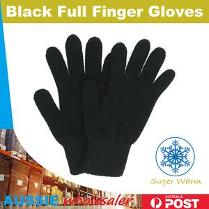 Black  WOOL Winter Full Finger Gloves Warm Winter Unisex Ski Gloves Freesize