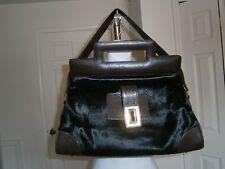 KARA Ross New York Dark Brown Calf Hair/Grain Leather Trim Shoulder/Tote Handbag