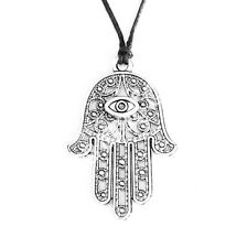 Hamsa Symbol Evil Eye Hand Charm Pendant Choker Necklace with Black Cord