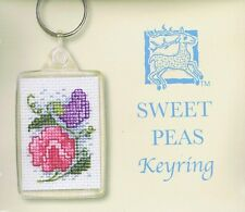 Sweet Peas Keyring Cross Stitch Kit By Textile Heritage Floral