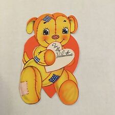 Vintage Greeting Card Valentine Cute Patchwork Puppy Die-cut