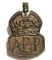 WW2 ARP Badge Men's Silver Air Raid Precautions unpolished 1938 hallmark
