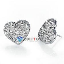 Womens Jewellery 18K White Gold Plated Swarovski Crystal Heart Shaped Earrings