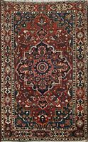 Antique Bakhtiari Geometric Hand-knotted Area Rug Traditional Wool Carpet 5'x7'