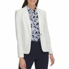 TOMMY HILFIGER NEW Womens Textured Elbow-patches Blazer...