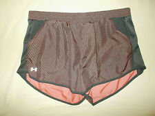 UNDER ARMOUR BLACK & PEACH PRINT RUNNING SHORTS WITH LINER WOMENS XL EXCELLENT