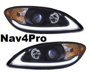 NEW 2008-2016 International ProStar Black LED DRL Projector Headlight Pair