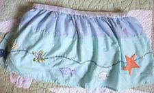 Kidsline Blue Green Fish Starfish Sea Life Nursery Baby Crib Skirt EUC