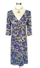 LEONA EDMISTON Dress - Vintage Floral Print Purple Grey 3/4 Sleeve Stretch - 14
