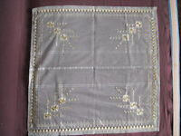 #1163 Beautiful Vintage Embroidered Tulle Tablecloth 67cm/65cm(26''x25.5'')