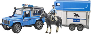 1/16 Land Rover Police With Horse Trailer, Horse and Officer by Bruder 02588