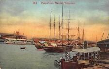 PASIG RIVER MANILA PHILIPPINES SHIP POSTCARD (c. 1910)