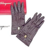 Salvatore Ferragamo gloves Vera Brown Gold Woman Authentic Used T2035