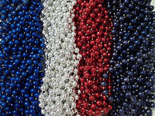 48 Red Silver Blue Mardi Gras Beads Patriots Texans Super bowl Tailgate Party