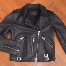 AllSaints Women's Black WATSON Leather Biker Jacket UK 8