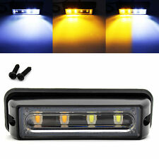 4LED Amber+White Waterproof Car Truck Emergency Strobe Flash Side Marker Light