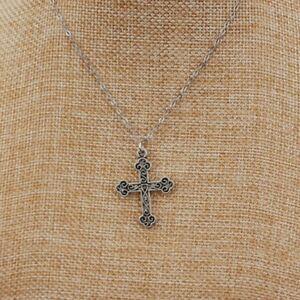 Fashion New Men Women Short Vintage Silver Plated Cross Pendants Chain Jewellery