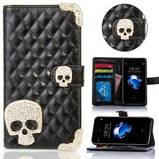 Samsung Galaxy Skull Rhinestone Phone Case Protective Case Flip Cover Pouch Case