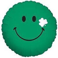 """FOIL 18"""" GREEN SMILEY FACE BETALLIC FOIL BALLOON"""