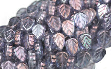 25 PURPLE LUSTER CZECH GLASS LEAF BEADS 10MM