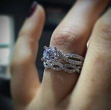 Certified 2.30ct White Round Diamond Engagement Wedding Ring in 14K White Gold