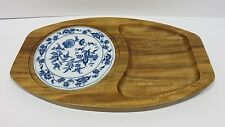 Hand Crafted Blue and White Wood Cheese Tray