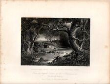 Stampa antica PAESAGGIO CON CACCIA AL CERVO Shakespeare 1840 Old print