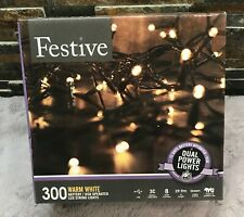 Festive Christmas  Lights,Battery Operated Timer LED,Warm White 300 Bulb USB