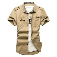 Men's Casual Short Sleeve Cargo T-shirts Military Dress Shirt Double Pockets New