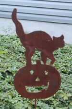 Rusty Jack O' Lantern Pumpkin with Cat Garden Stake Lawn Ornament Made in USA