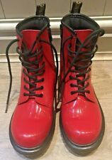 Dr Martens 4 Red Patent Leather With Side Zip. Hardly Worn! Delaney Y