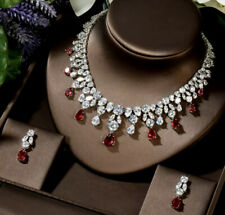 Red Garnet & Simulated Diamond Stone Necklace Earrings Set 18K White Gold Finish