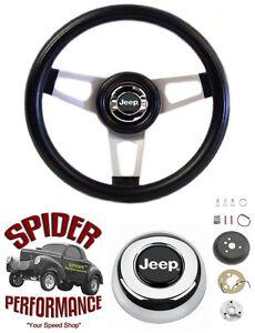 """1976-1986 Jeep CJ5 CJ7 steering wheel 13 3/4"""" SILVER SPOKE"""
