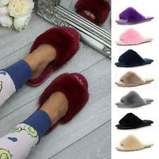 Womens ladies indoor fur sandals washable peep toe lounge slides slippers size
