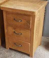 SOLID WOOD RUSTIC CHUNKY PLANK LARGE 3 DRAWER BEDSIDE TABLES * MADE TO MEASURE *