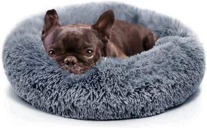 Small Pet Dog Cat Calming Bed Comfy Shag Fluffy Warm Bed Nest Mattress Donut Pad