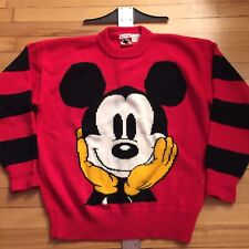 Vintage Disney Mickey Ink And Co Red Knitt  Sweater Knit Knitted Sweatshirt