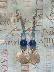 Pearl Dangling Earrings Silver Dangle Blue Beads Brand New