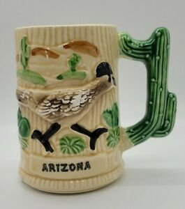 Vintage Arizona Souvenir Cactus Handle Roadrunner Pottery Mug Green Glaze Japan