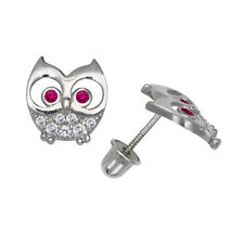 Ruby and White Sapphire Owl Child Stud Earrings Screw Back 14K White Gold