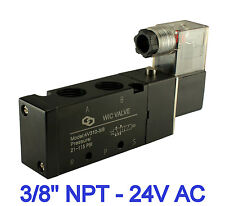 """3/8"""" Inch 4 Way 2 Position Electric Directional Control Solenoid Air Valve 24VAC"""