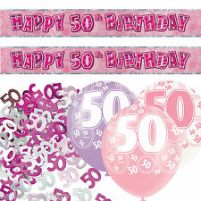Pink Silver Girl Glitz 50th Birthday Banner Party Decoration Pack Kit Set