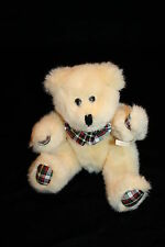 """Made for Greenbacks Jointed TEDDY BEAR 9"""" Cream Plush Red Green Plaid Bow Pads"""