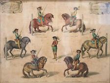 After Abraham van Diepenbeeck Hand colored etching Horse Dressage