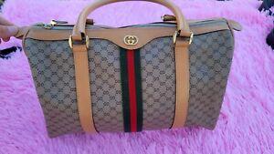 Vintage Gucci GG Web Stripe Navy Supreme PVC Leather Crossbody Bag