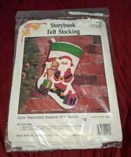 Storybook Felt Stocking Kit Hobby Kraft Christmas Santa Teddy Bear Sequins Beads