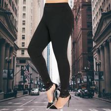Rosegal Black Plus Size Lace Trim Leggings Pants 18 2XL